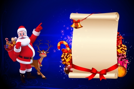 santa with big sign on blue background