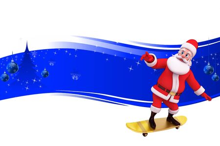 santa with skating wheels on blue background Stock Photo - 15242177