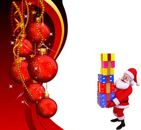 santa with lots of gifts on red background photo