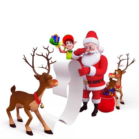 duendes de navidad: Papá Noel y renos con lista de regalos de gran