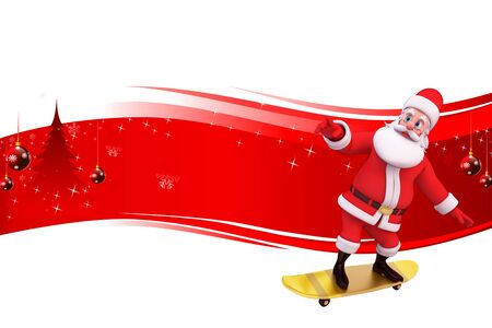 santa with skating wheels on red background Stock Photo - 15242176