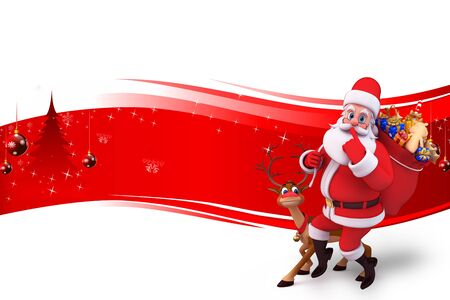 santa with lots of gifts and reindeer on red background photo