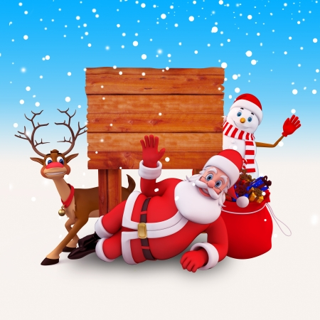 santas sleigh: santa with wooden sign and snow man