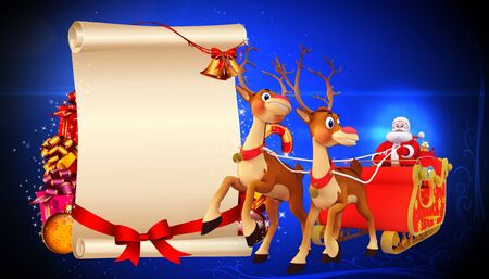 santa and his sleigh on red background Stock Photo - 15242799