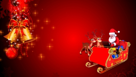 santa and his sleigh on red background photo