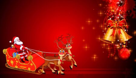 santa girl: santa and his sleigh on red background