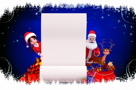 santa and santa girl with white sign photo