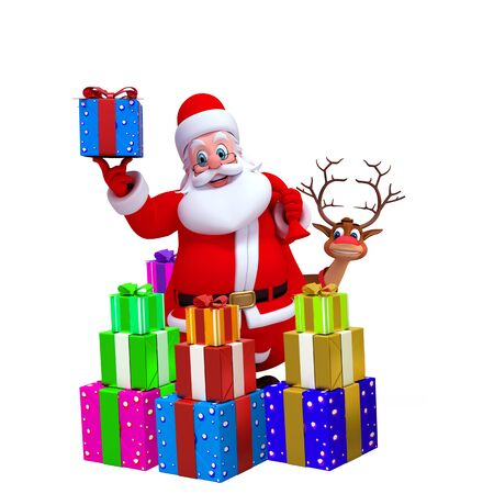 santa with reindeer and lots of gifts photo