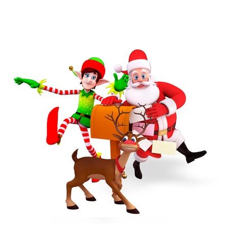 duendes de navidad: santa con los elfos y caja de regalo