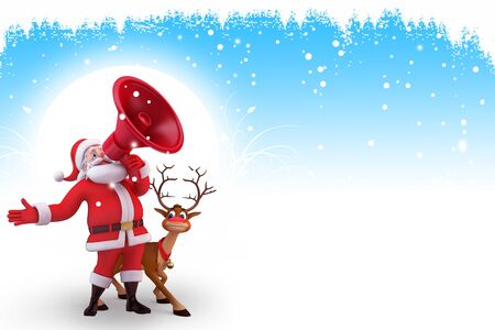 santa with loud speaker and reindeer on blue background photo