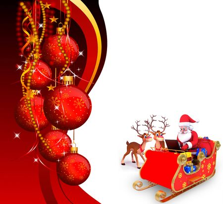 santa and his sleigh on red background