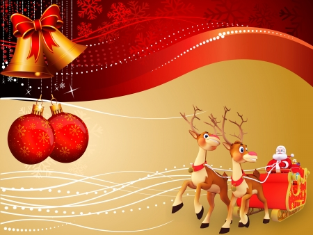 huge christmas tree: santa and his sleigh on red background