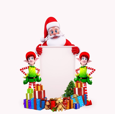 santas sleigh: santa with christmas tree and elves with sign Stock Photo