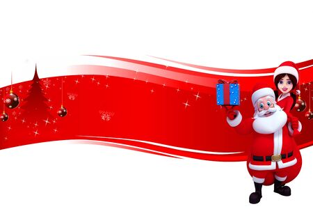 santa with gifts and santa girl on blue background Stock Photo - 15242174