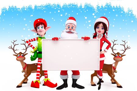 santa and his team with sign on blue background photo