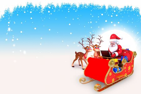 santa and his sleigh on blue background