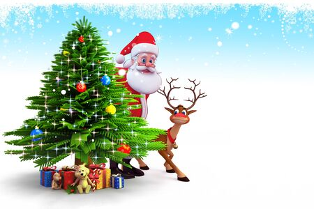 santa with tree on blue background photo