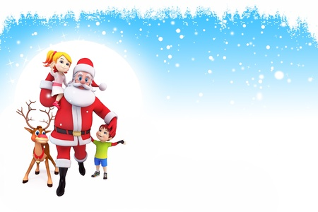 santa with reindeer and kids on blue background photo