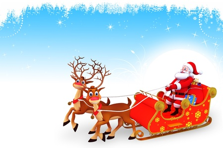 santa and his sleigh on blue background photo