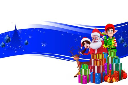 santa on a blue background with elves photo