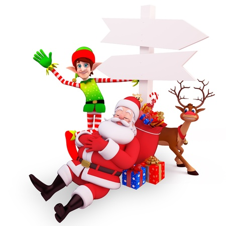santa claus with sign and elve photo