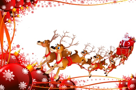 santas sleigh: santa and his sleigh on red background