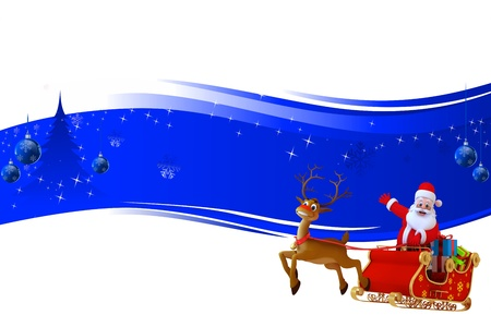 santa and his sleigh on blue background Stock Photo - 15242184