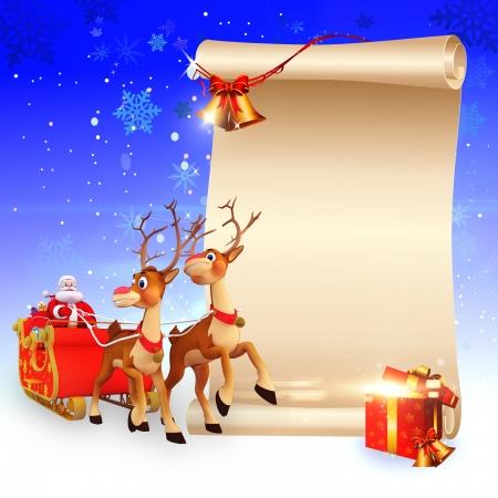 trineo: Pap� Noel y su trineo con un gran cartel