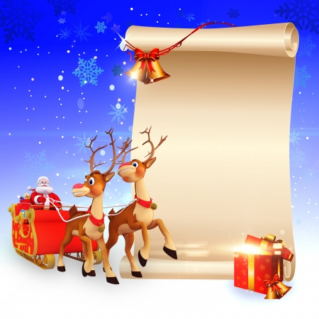 santa's deer: santa and his sleigh with a big sign Stock Photo