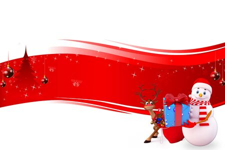 snow man carrying a gift box on red background Stock Photo - 15242181