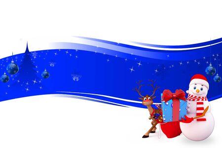 snow man on blue background Stock Photo - 15242183