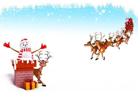 snow man with chimeny and reindeers sleigh Stock Photo