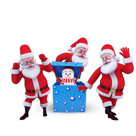 santa with snow man