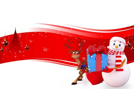 snow man with reindeer on red background Stock Photo - 15242188
