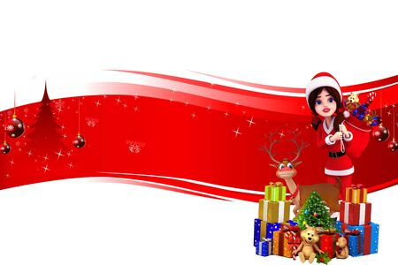 santa girl with lots of gifts on red background photo