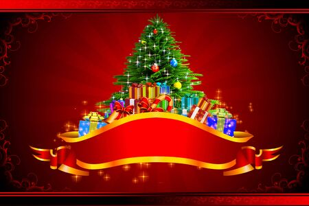 christmas tree with gifts on red background photo