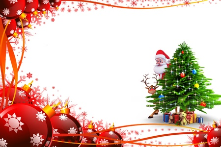 santas sleigh: christmas tree with santa and gifts Stock Photo