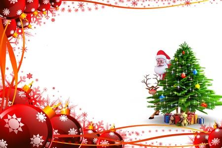 weihnachtsmann: Weihnachtsbaum mit Weihnachtsmann und Geschenken