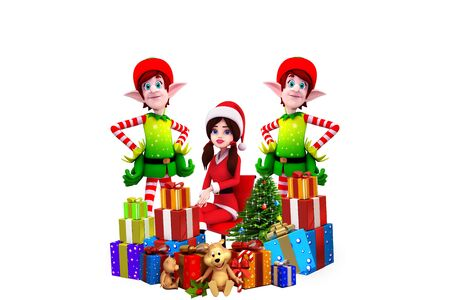 santa girl with elves and gifts photo