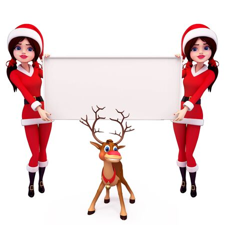 santa girl with  sign and reindeer photo