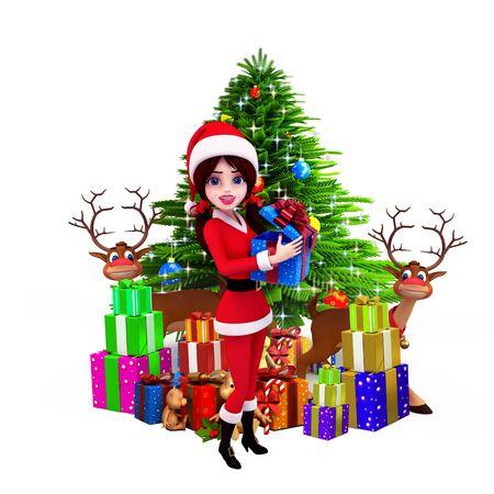 santa girl with christmas tree and reindeer