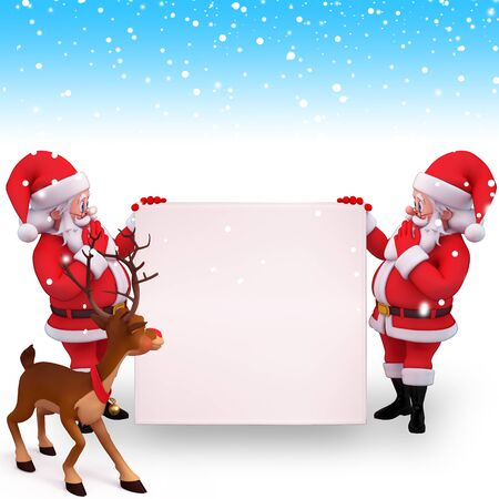 santa with sign and reindeer Stock Photo - 15242351