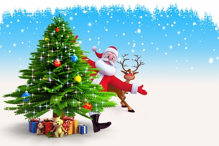santa with reindeer and christmas tree on blue background