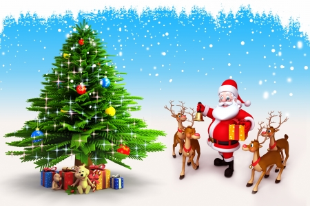 santa with reindeer and christmas tree on blue background Stock Photo - 15243199