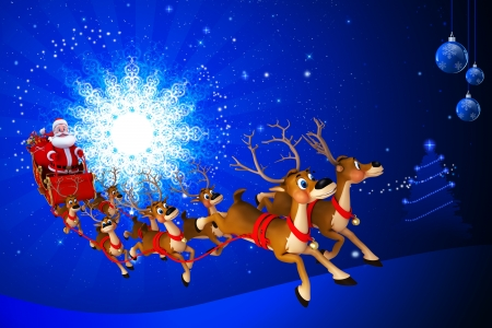 santa with his sleigh on blue color background photo