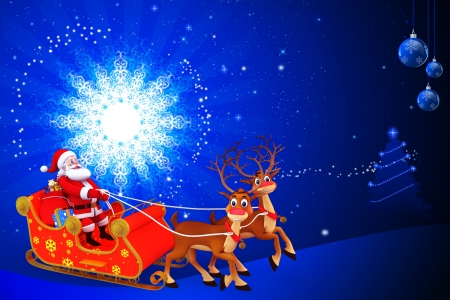 santa claus sitting in the sleigh on blue color background photo