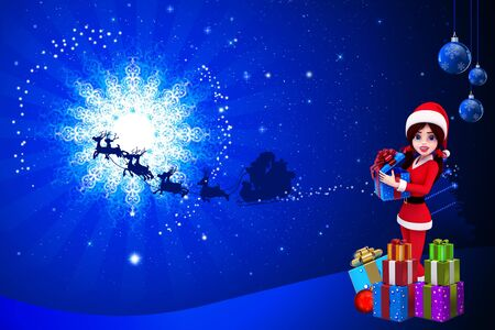 santa girl and gifts with blue color background photo