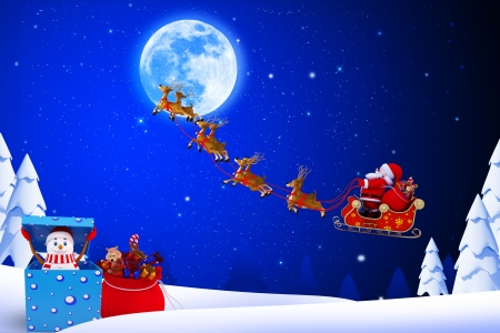 santa with his sleigh and snow man on blue color background photo