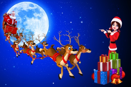 santa with his sleigh and santa girl on blue color background photo