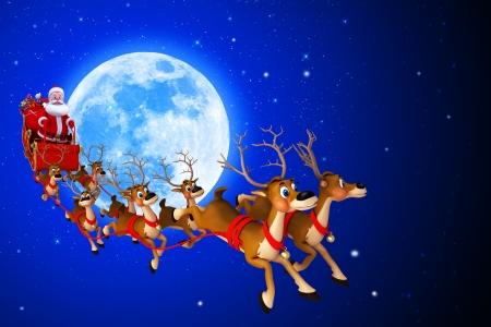 tra�neau: Santa avec son tra�neau sur fond bleu